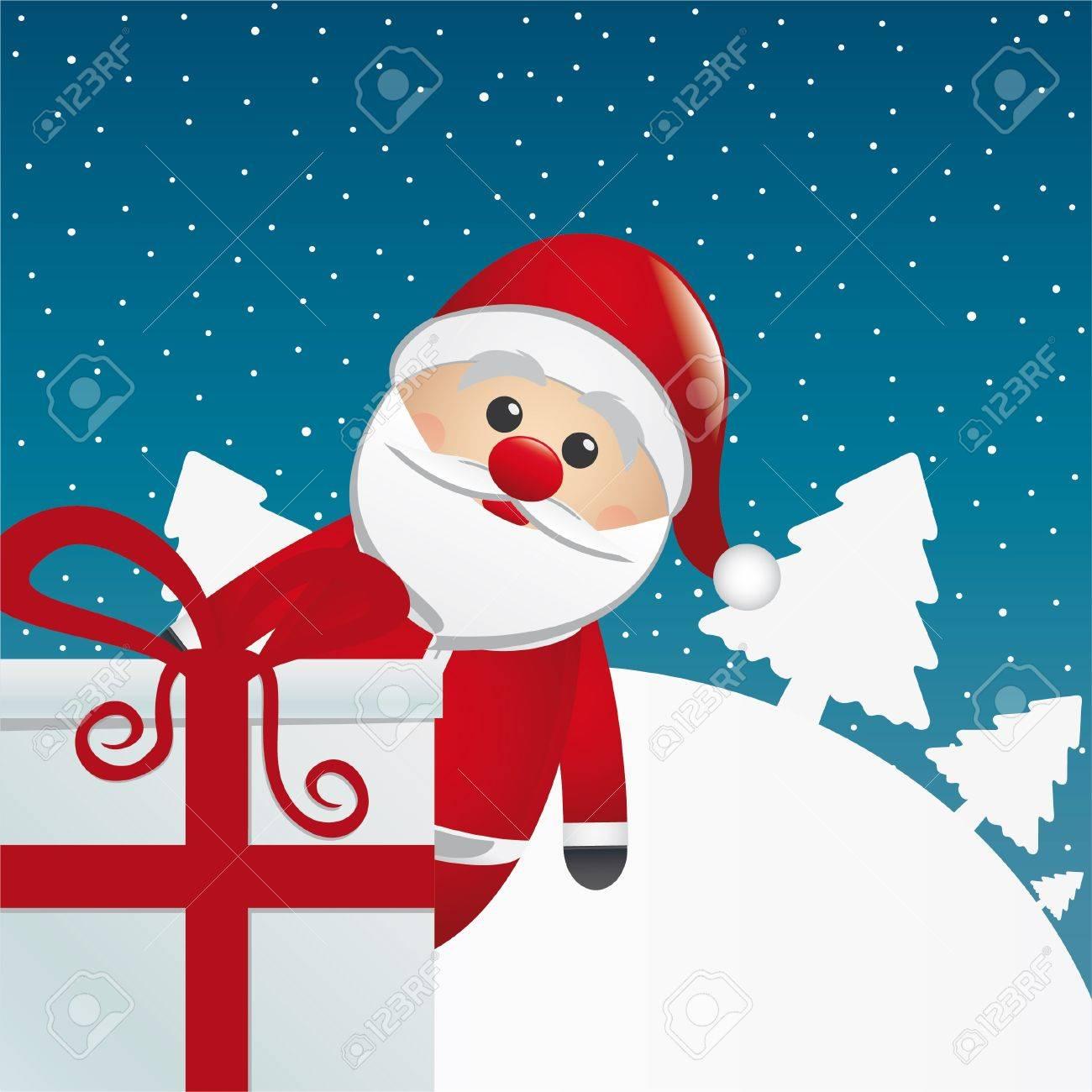 santa behind gift box white winter landscape - 16068346