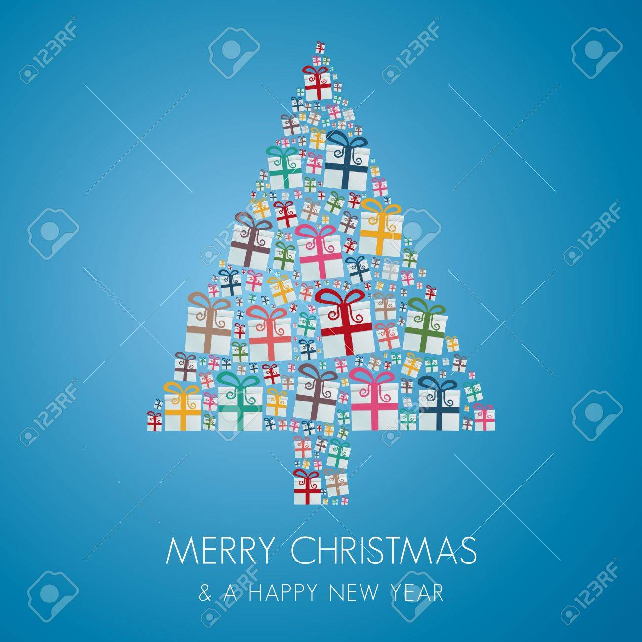 many gift box colorful christmas tree stack Stock Vector - 16068459