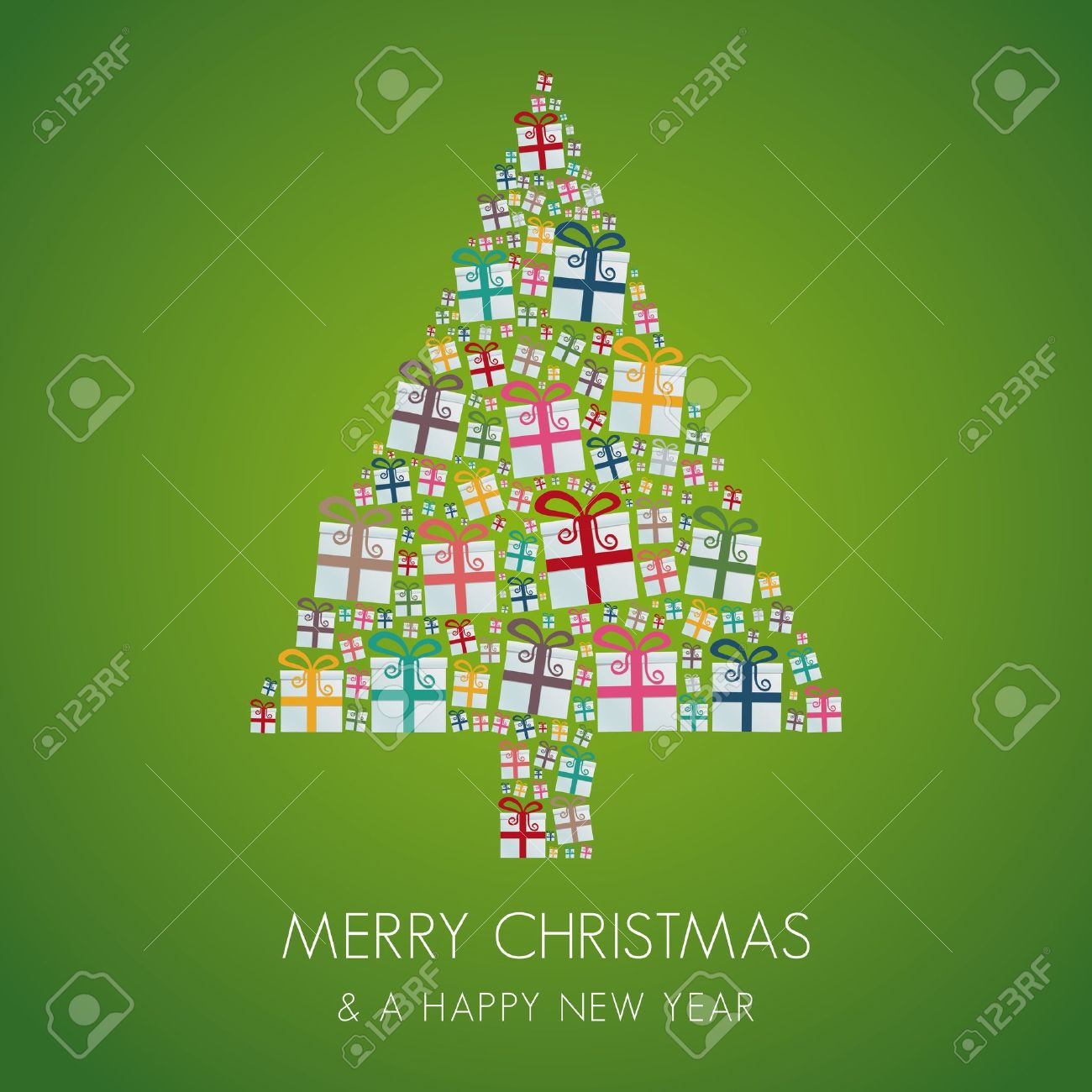 many gift box colorful christmas tree stack Stock Vector - 16068460