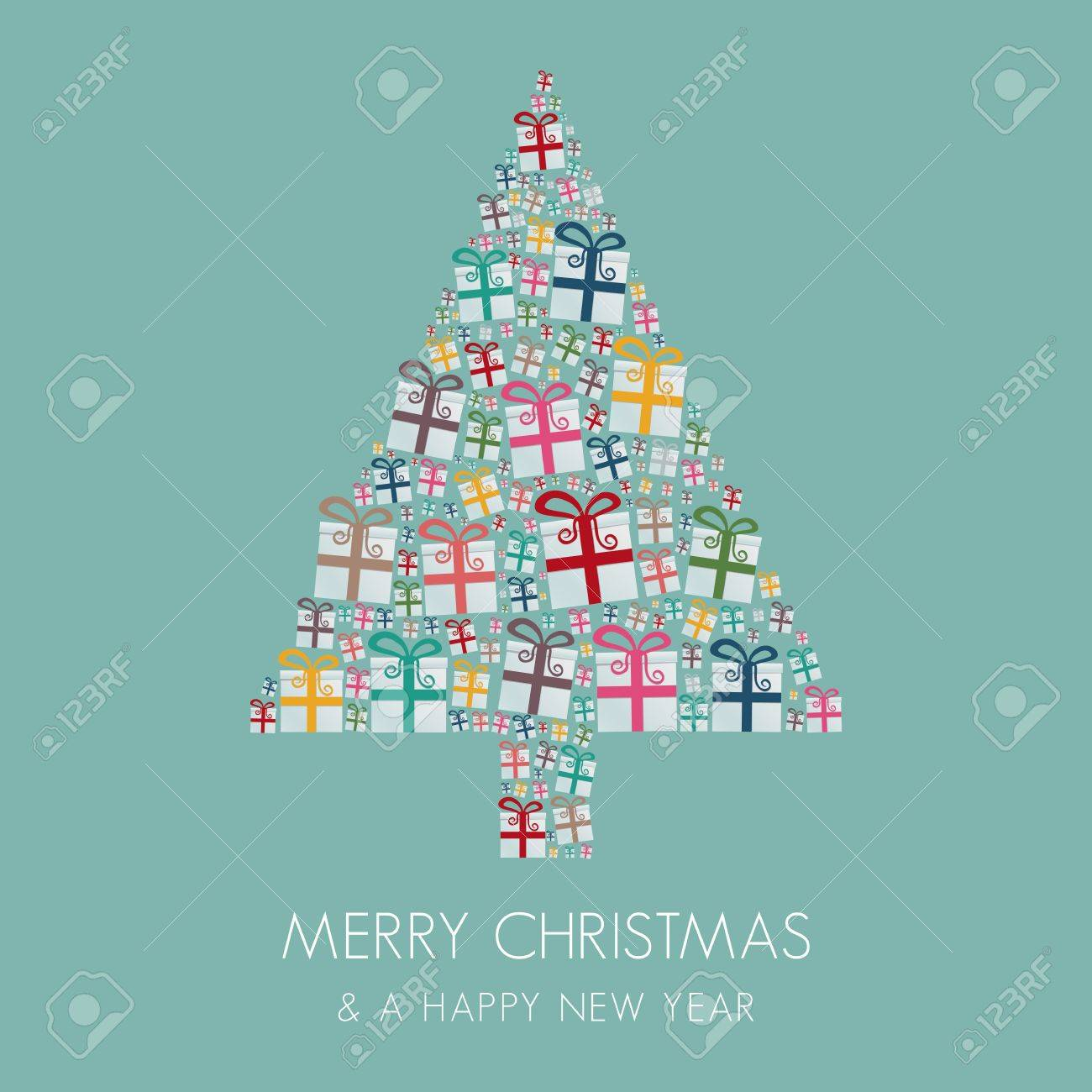many gift box colorful christmas tree stack Stock Vector - 16203179