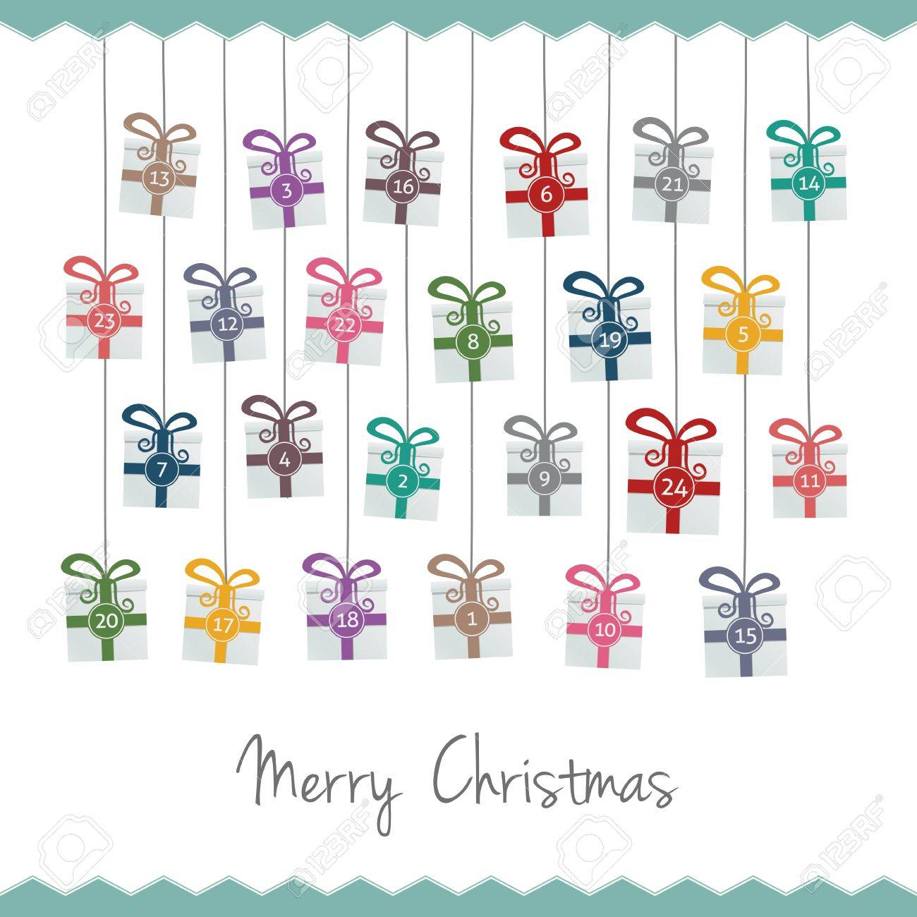 gift boxes hang on twine advent calendar Stock Vector - 16203155