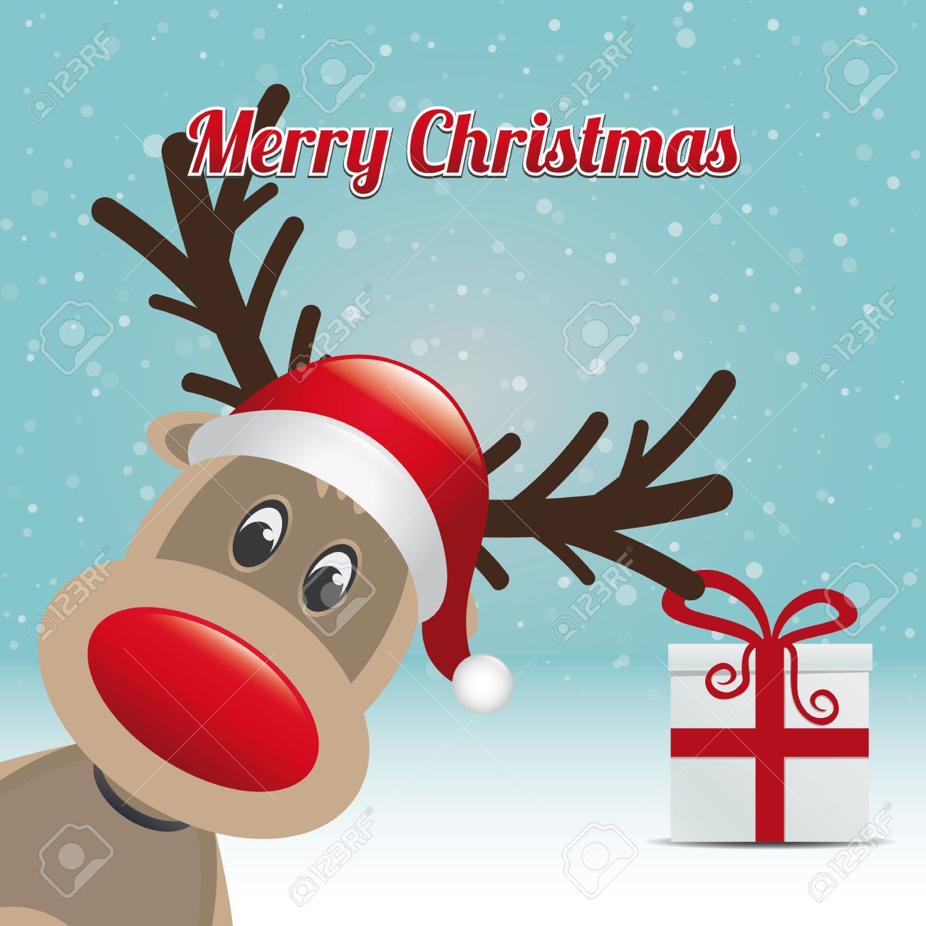 Reindeer Gift Snowy Winter Background Merry Christmas Royalty Free ...
