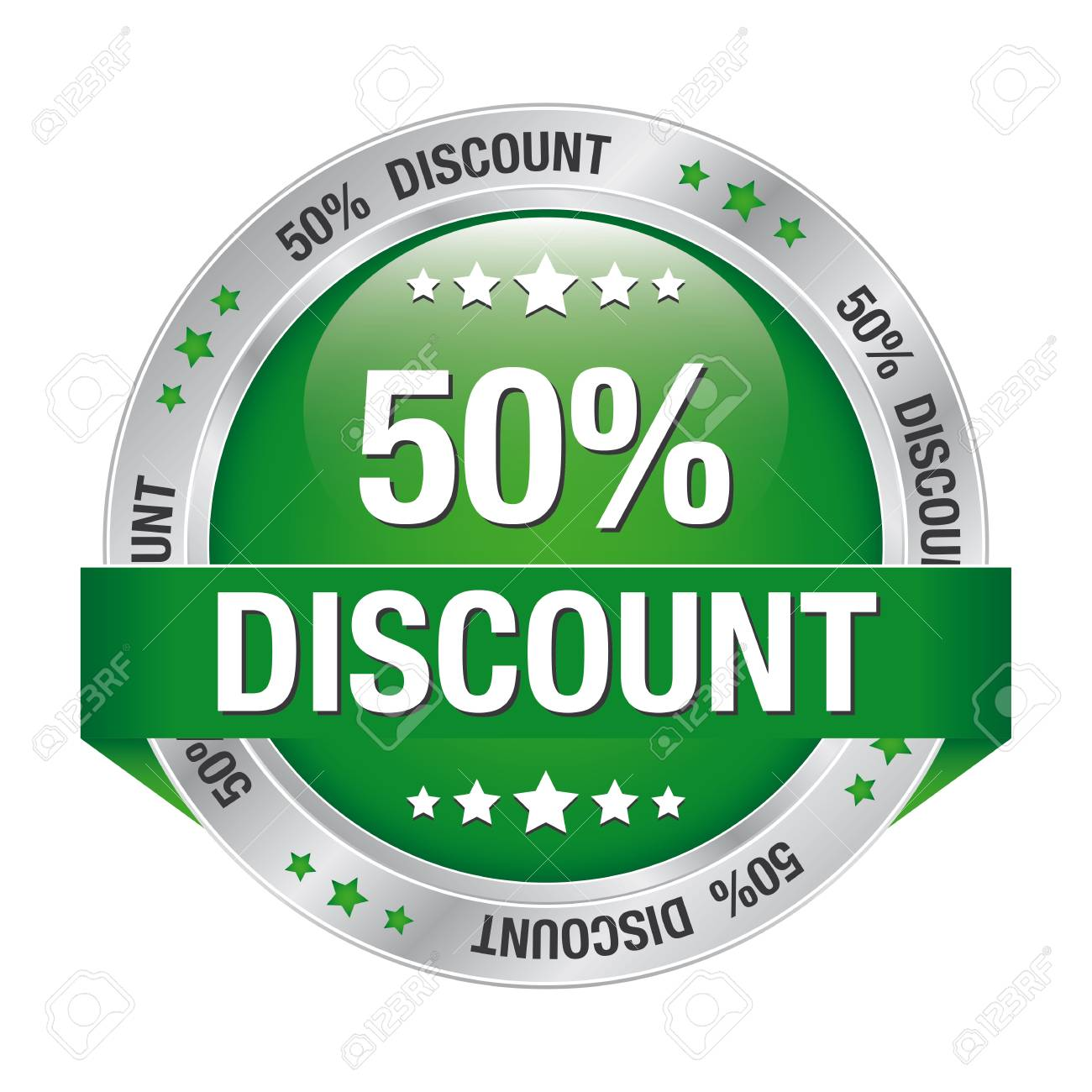 50 discount green silver button isolated background Stock Vector - 16895034
