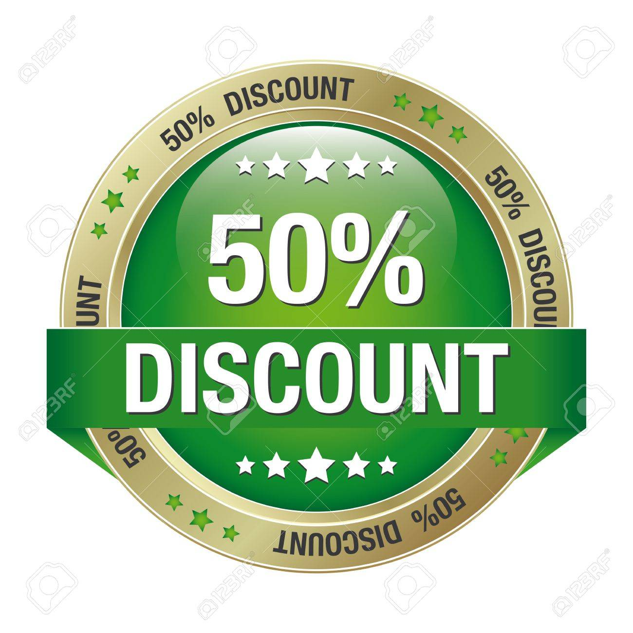 50 discount green gold button isolated background Stock Vector - 16895041
