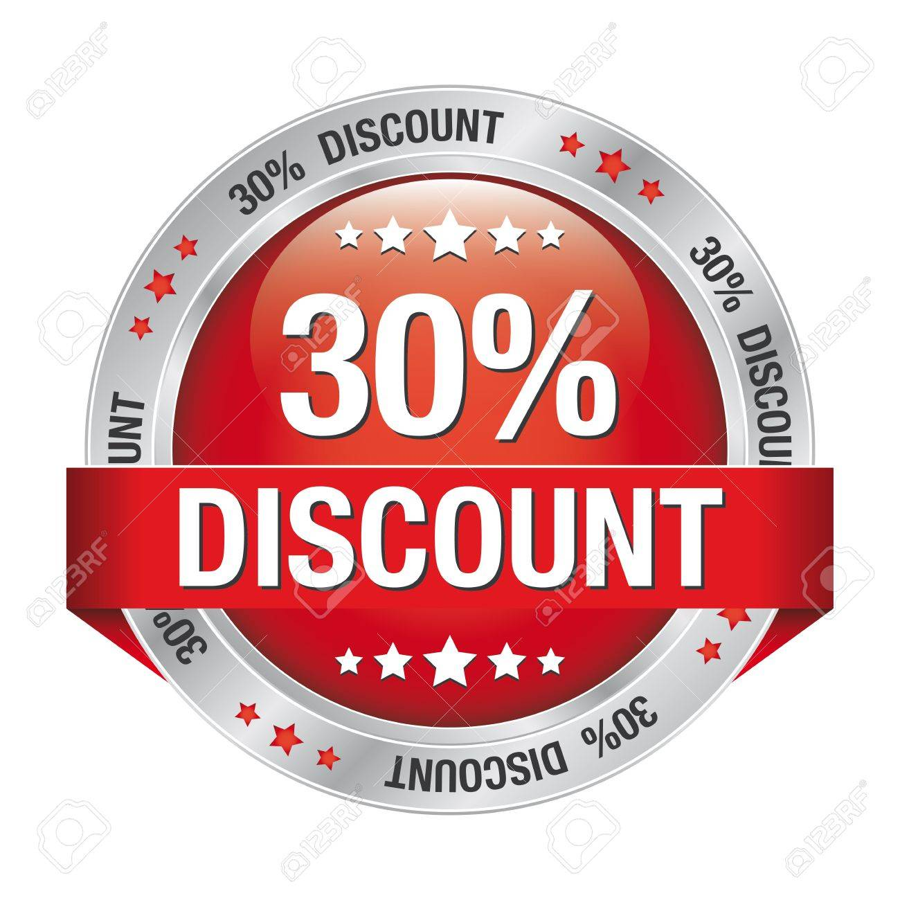 30 percent discount red silver button isolated Stock Vector - 17104259