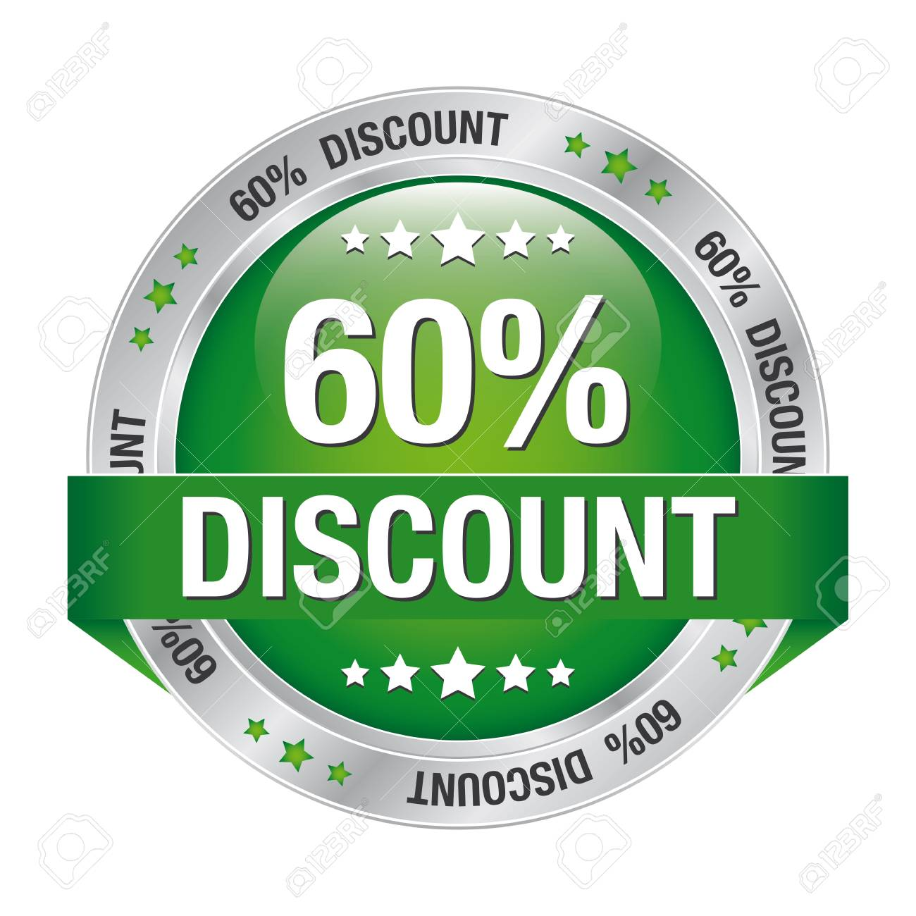 60 percent discount green silver button isolated Stock Vector - 17104229