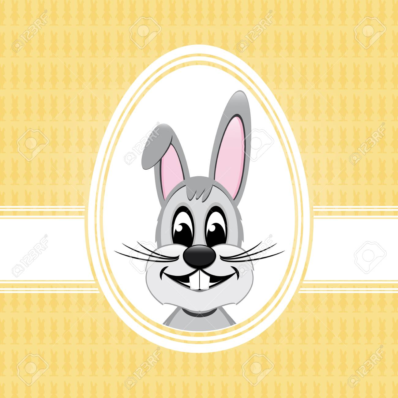 happy easter bunny white egg yellow background Stock Vector - 17757028