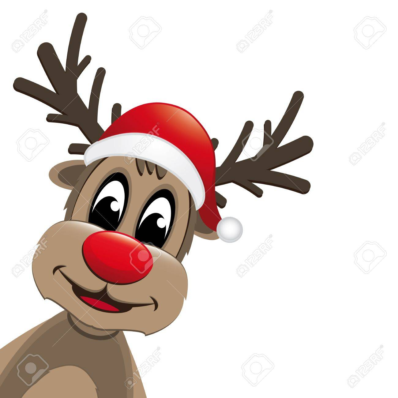 rudolph reindeer red nose and santa claus hat royalty free cliparts