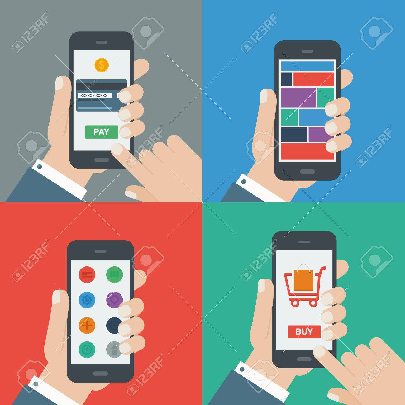 mobile shopping, payment, responsive flat design Stock Vector - 27709849
