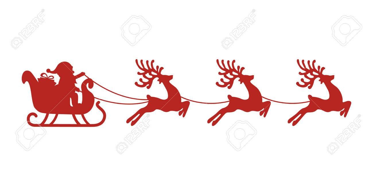 サンタそりトナカイ赤シルエットのイラスト素材ベクタ Image 46019879