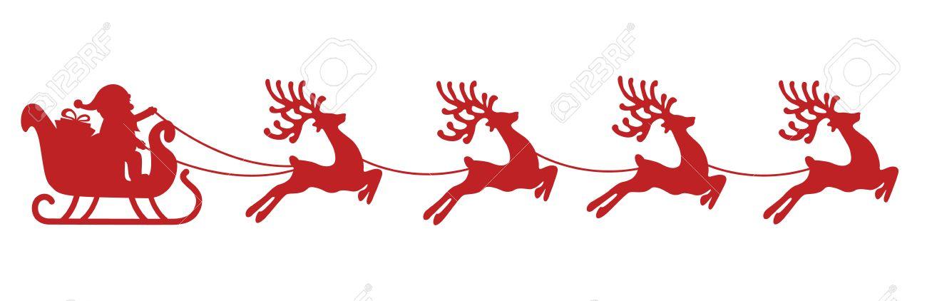 Santa Sleigh Reindeer Red Silhouette Stock Vector