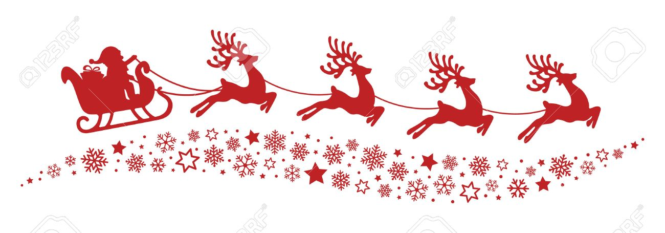 santa sleigh reindeer flying snowflakes red silhouette royalty free