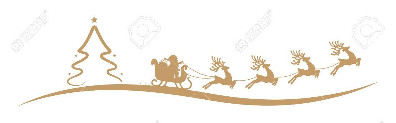 Les Renne Du Pere Noel.Arbre De Noël Père Noël Renne Traîneau Or