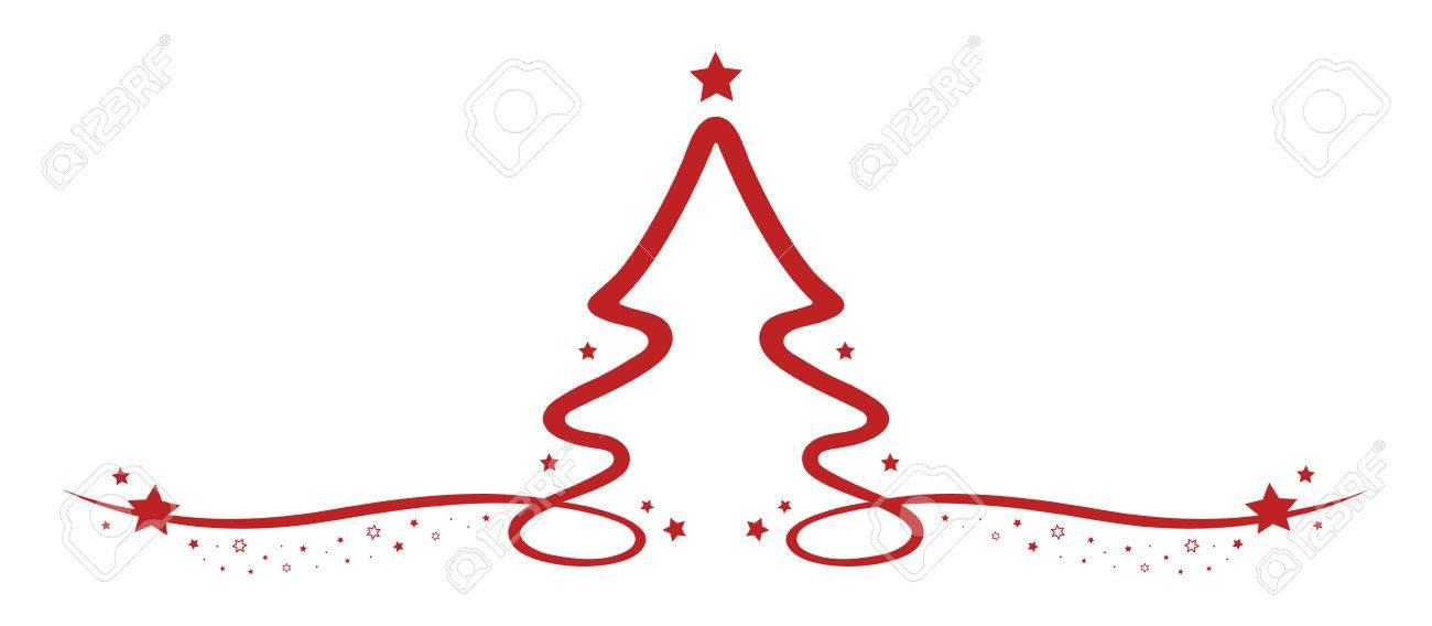 Estrellas Rojas Del árbol De Navidad Del Dibujo Lineal Ilustraciones