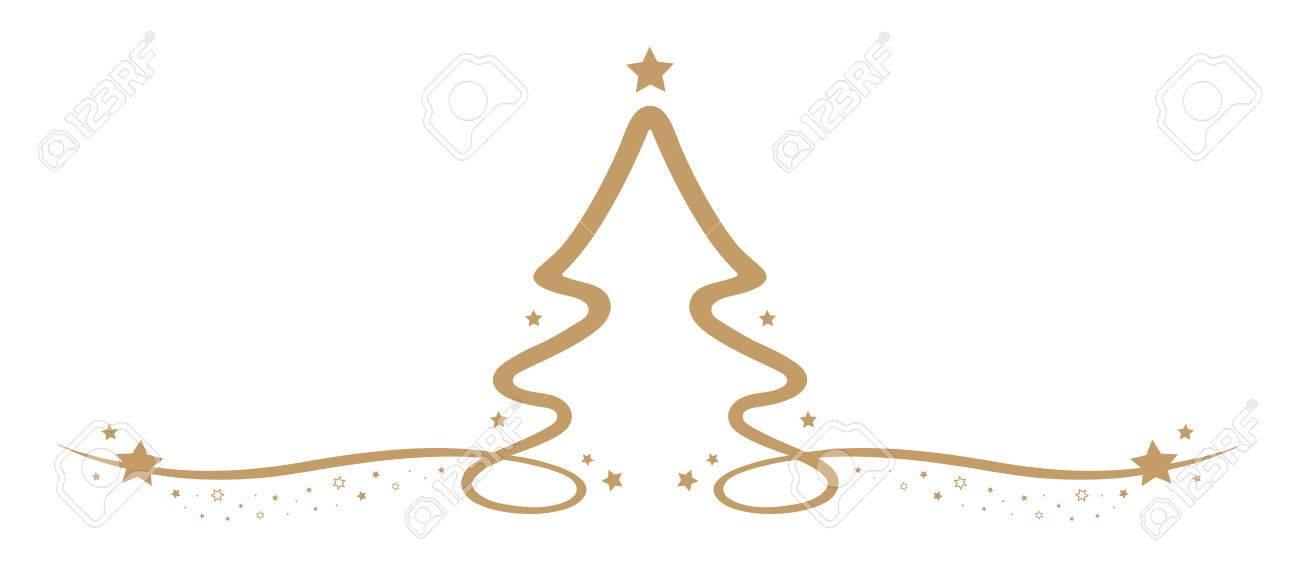 Christmas Tree Drawing Line Gold Stars
