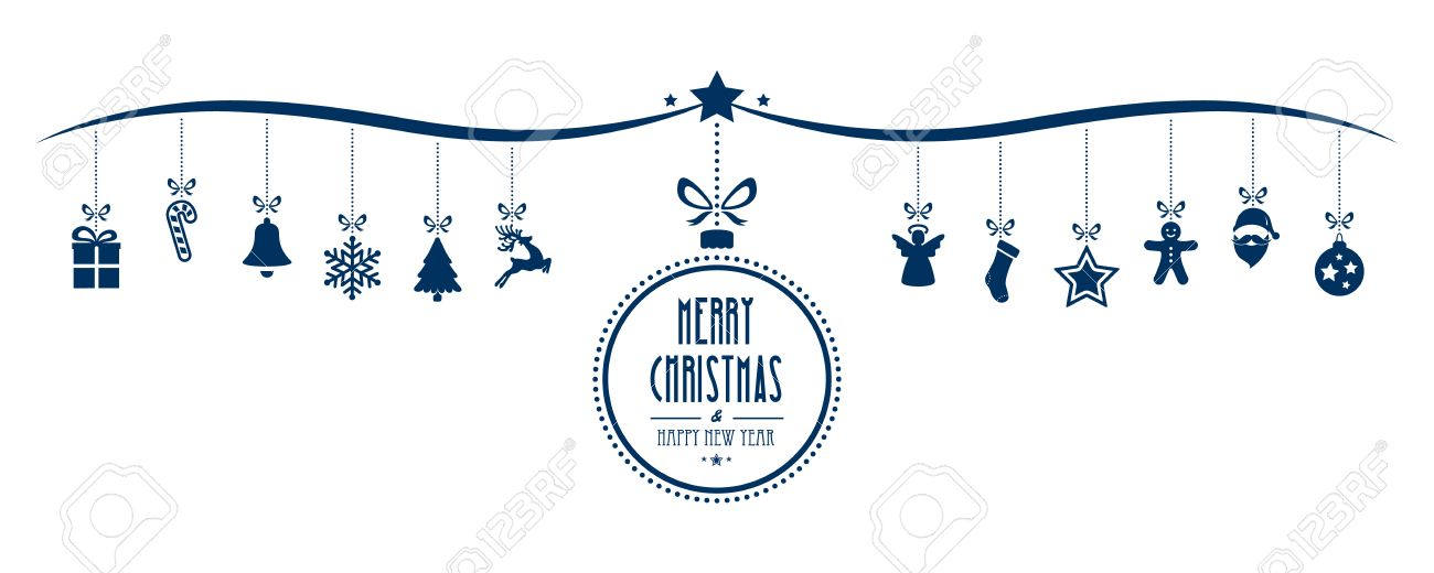 merry christmas bauble decoration elements blue isolated background - 50144461