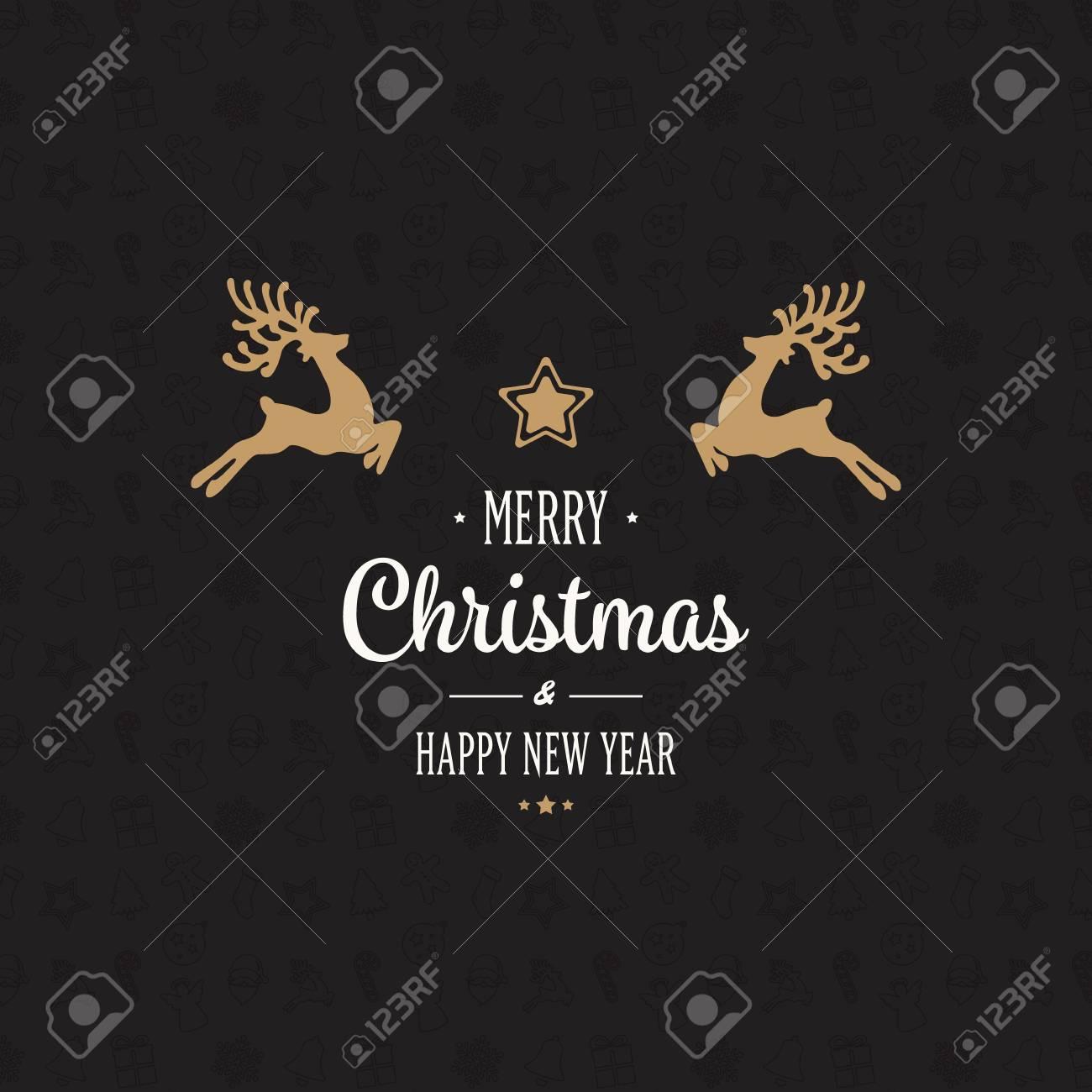 gold reindeer merry christmas card - 63821636