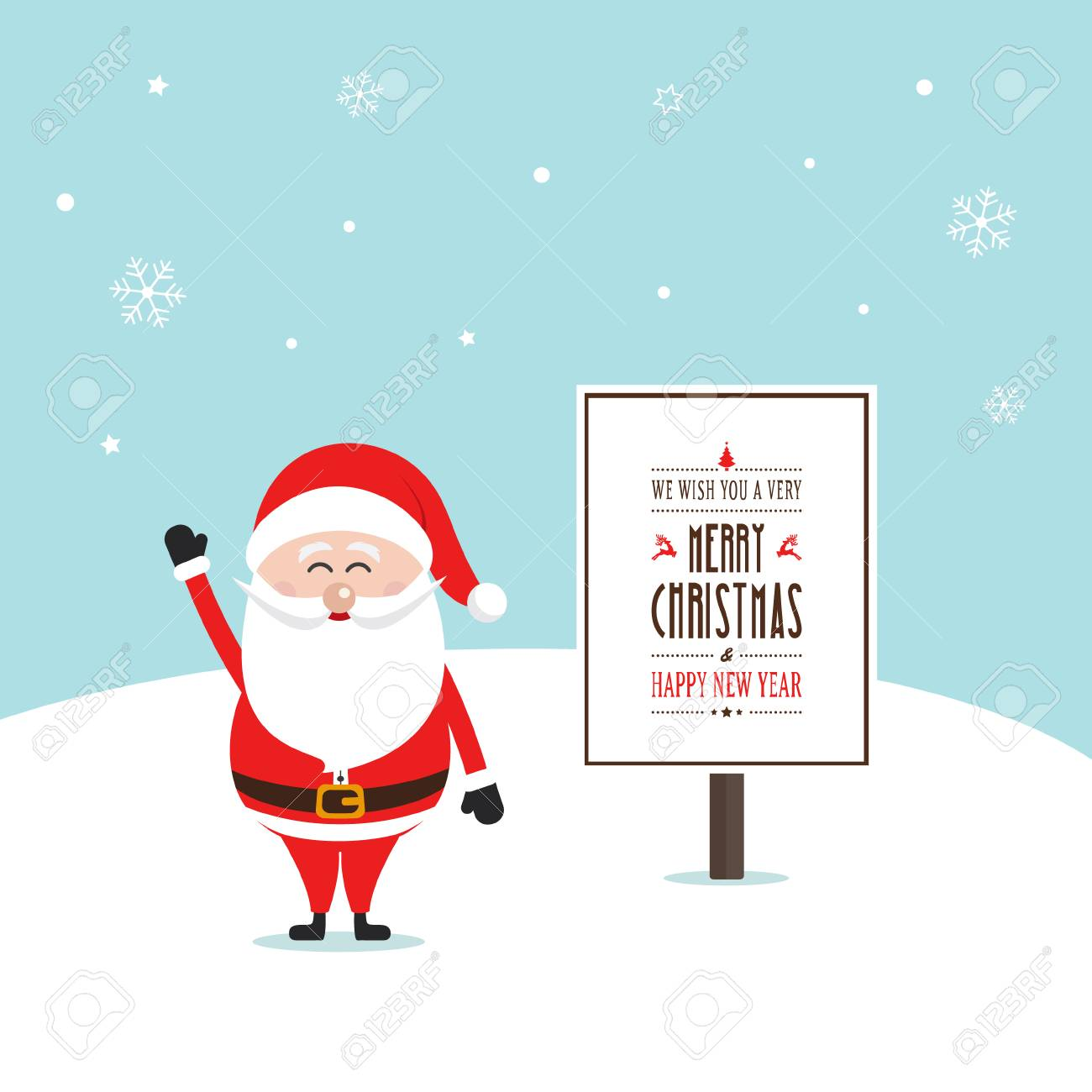 santa claus happy wave merry christmas sign royalty free cliparts