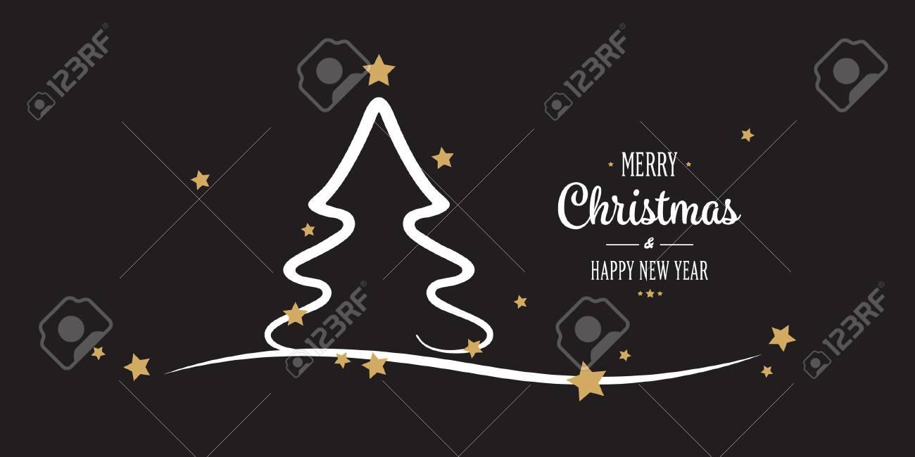 Christmas Tree Gold Stars Greetings Black Background Royalty Free