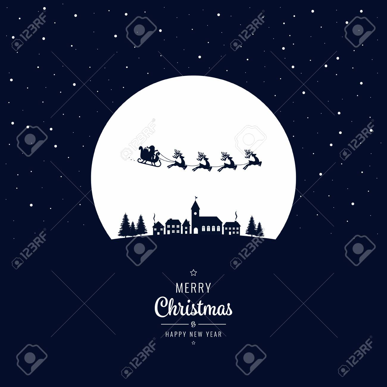 Santa sleigh flying into the winter village christmas night - 87334546