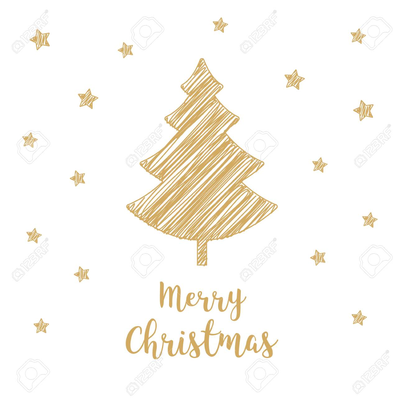 Christmas Tree Golden Greeting Card Scribble Drawing Text Drawing