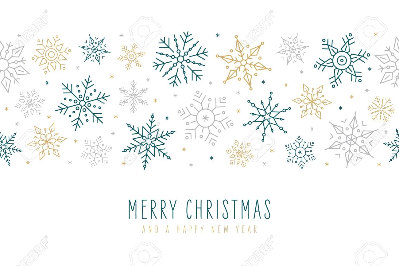 Christmas snowflakes elements ornaments decoration greeting card on isolated white background - 136229153