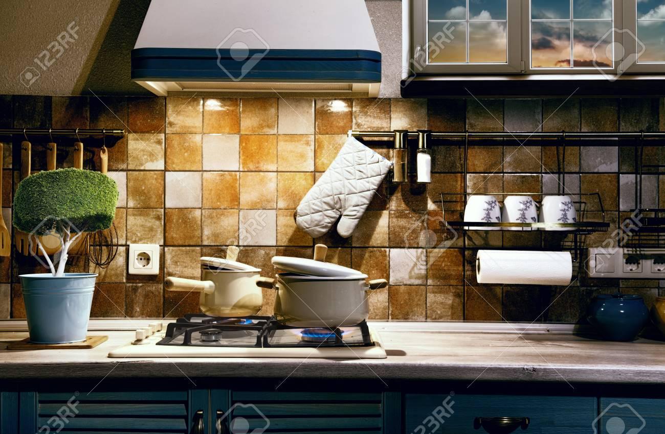 Cool Retro Küche Ideen Von Art Von Retro-küche Am Abend. Abendessen Auf