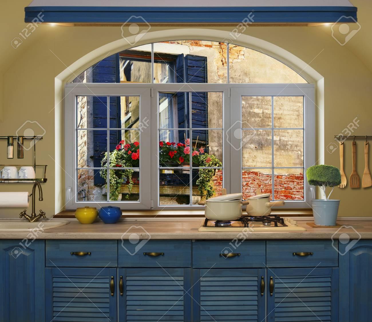 Innen Blau Kuche Vorbereiten Des Mittagessens Zu Hause Auf Dem