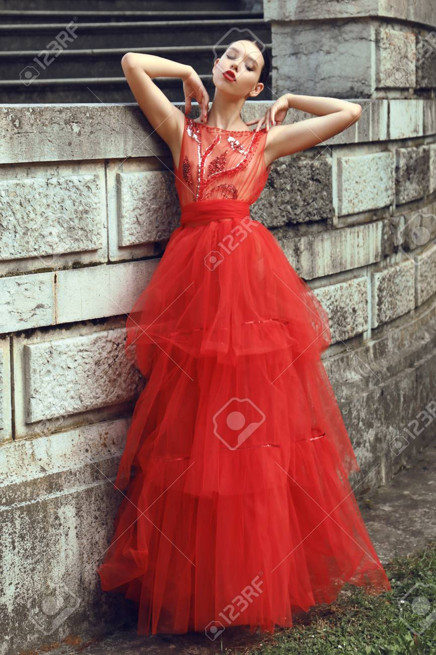 Fashion Outdoor Photo Of Gorgeous Young Bride With Dark Hair.. Stock ...