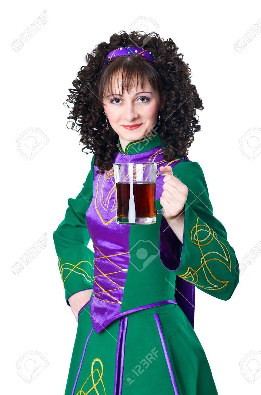 woman in irish dancing dress with beer stock photo 12313812 - Irish Dancer Halloween Costume