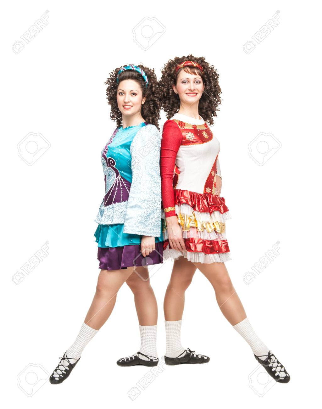 Two Young Women In Irish Dance Dresses Posing Isolated Stock Photo ... cd135496e