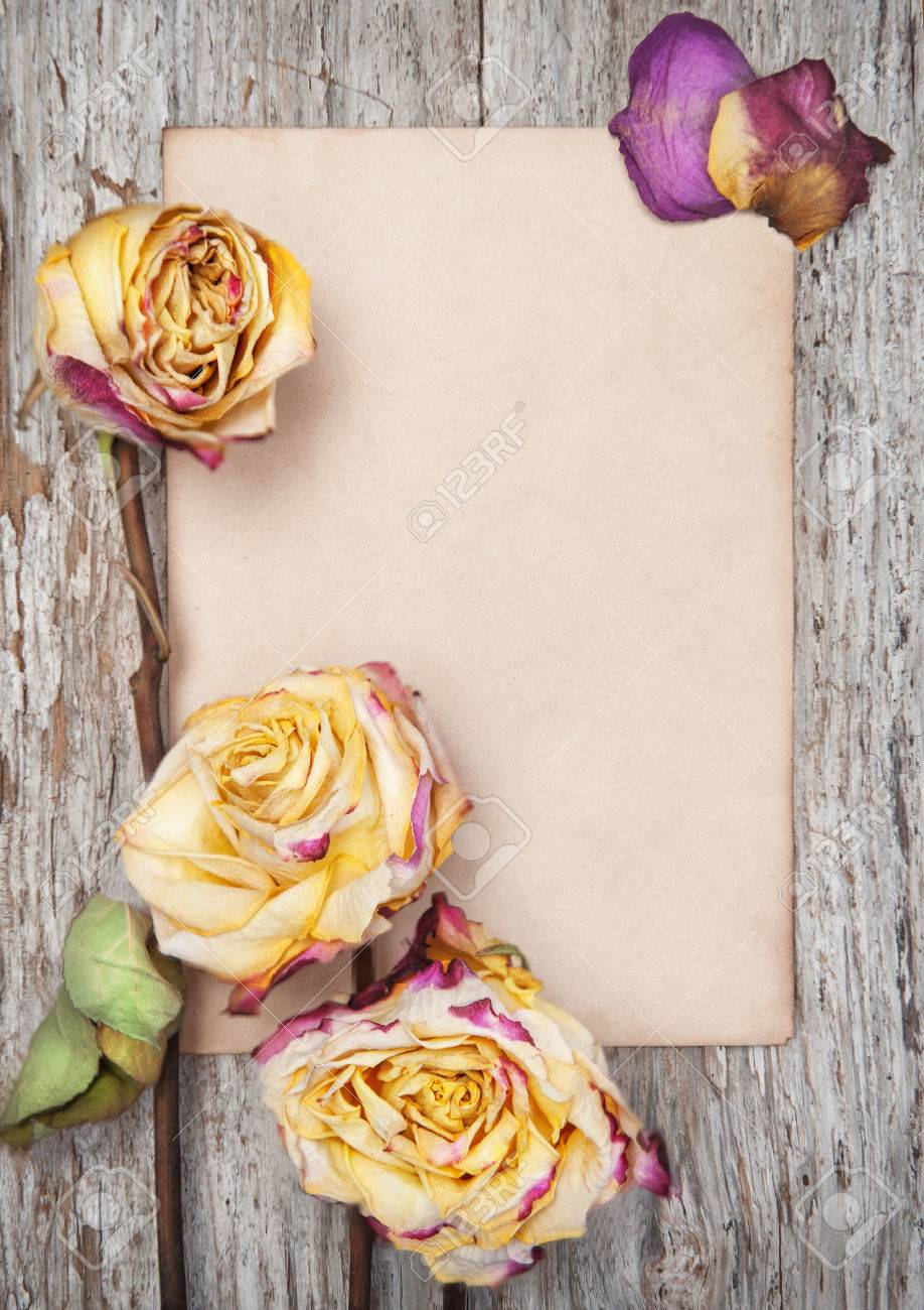Dry roses and paper on the old wooden background Stock Photo - 27365197