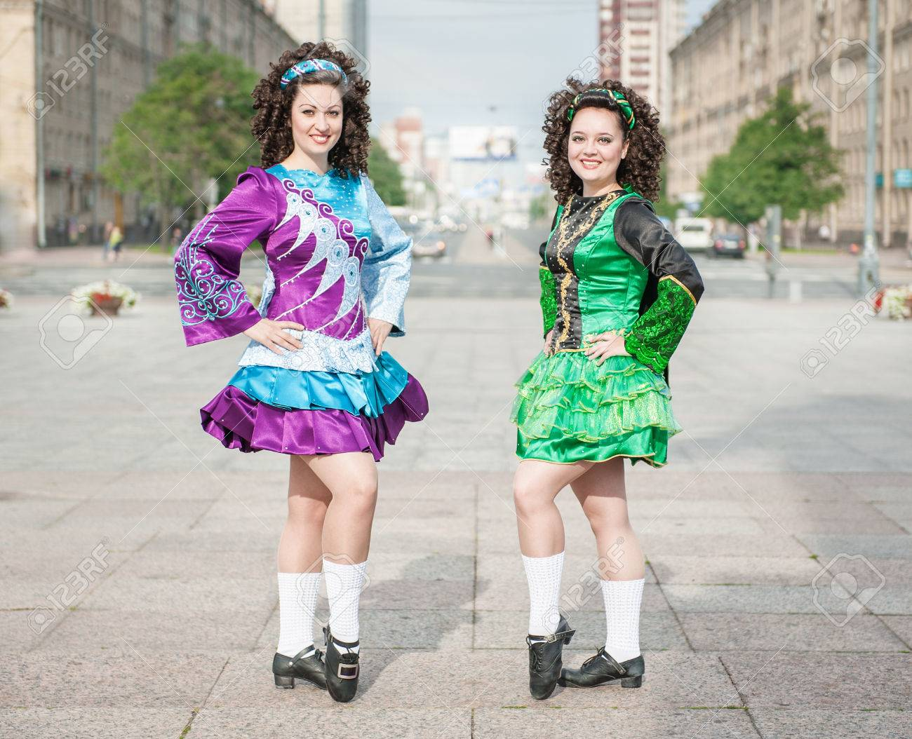 Two Women In Irish Dance Dresses And Wig Posing Outdoor Stock Photo ... ab9d06c1f4