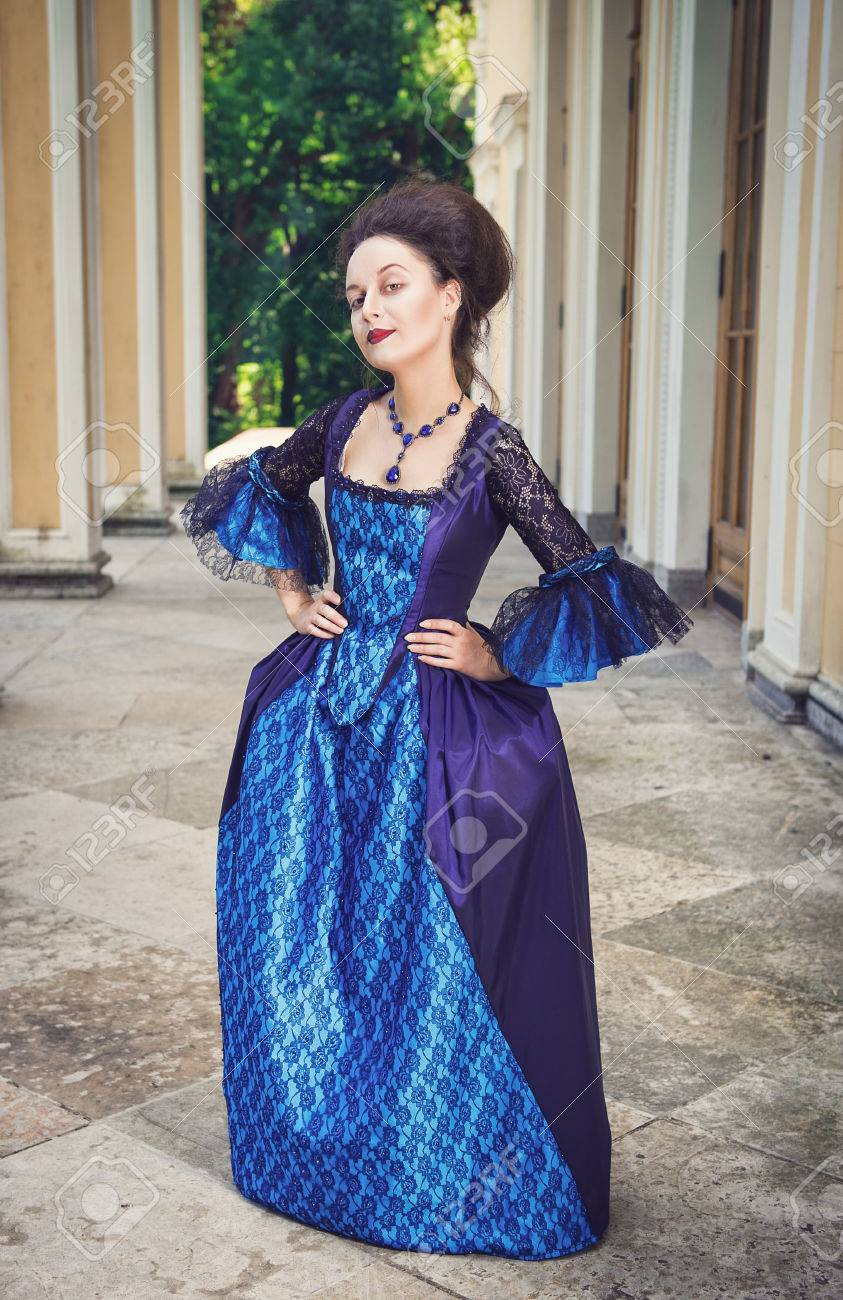 Beautiful Young Woman In Blue Medieval Dress Outdoor Stock Photo ...