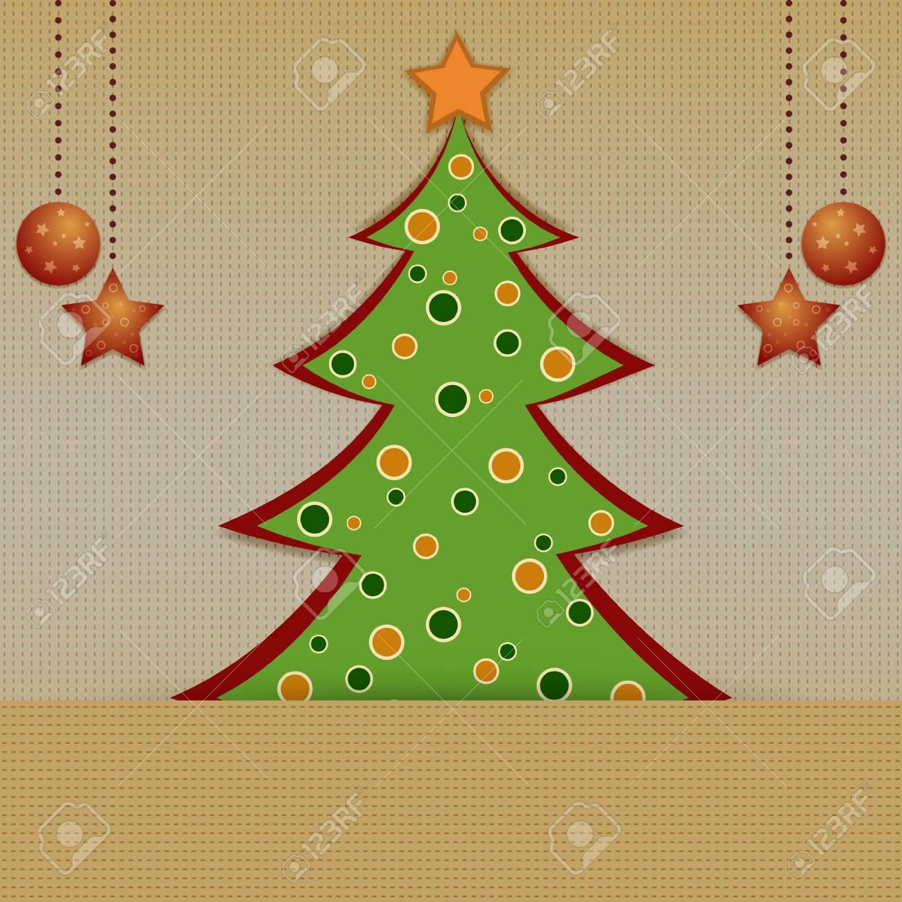 Carte De Noël Avec Sapin Décoré Sur Le Fond Jaune