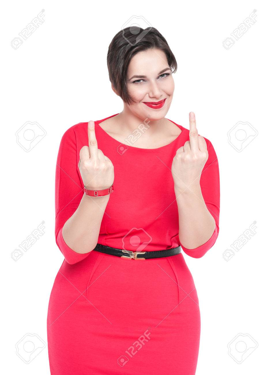 Beautiful Plus Size Woman In Red Dress Showing Middle Fingers ...