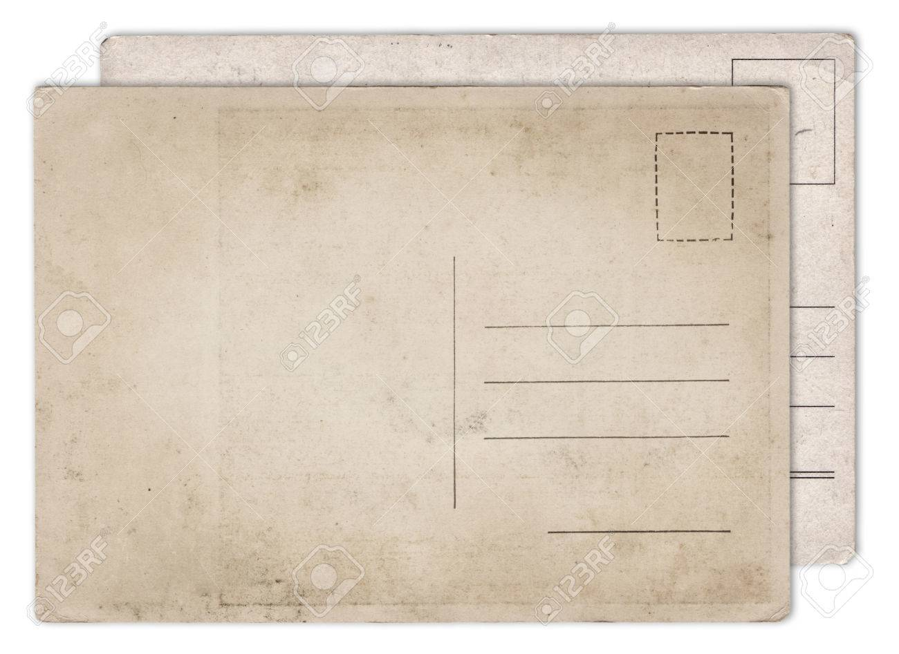 two blank old vintage postcard isolated on white background stock