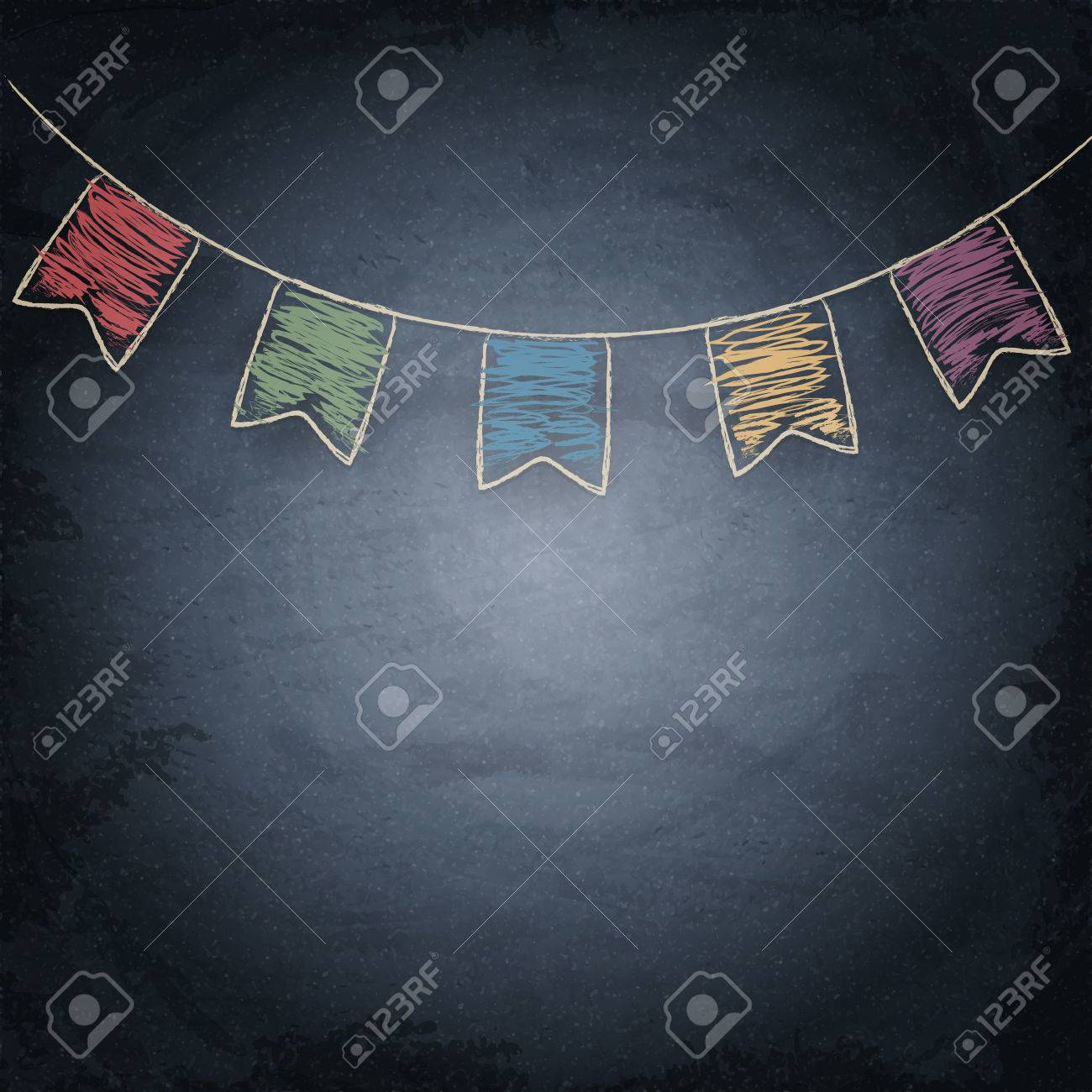 chalkboard background with drawing bunting flags vector texture