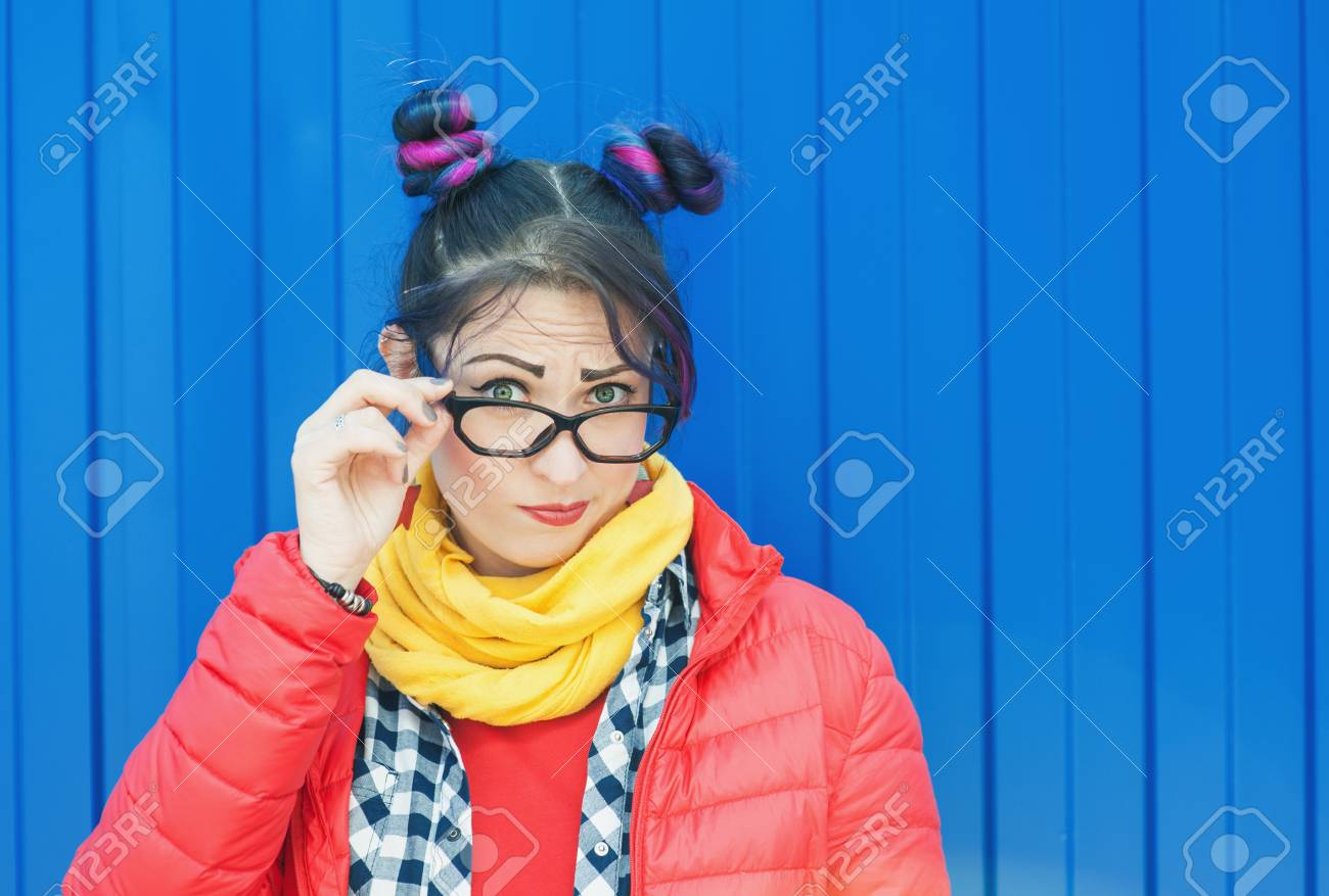 Young Beautiful Fashion Hipster Woman With Colorful Hair Over