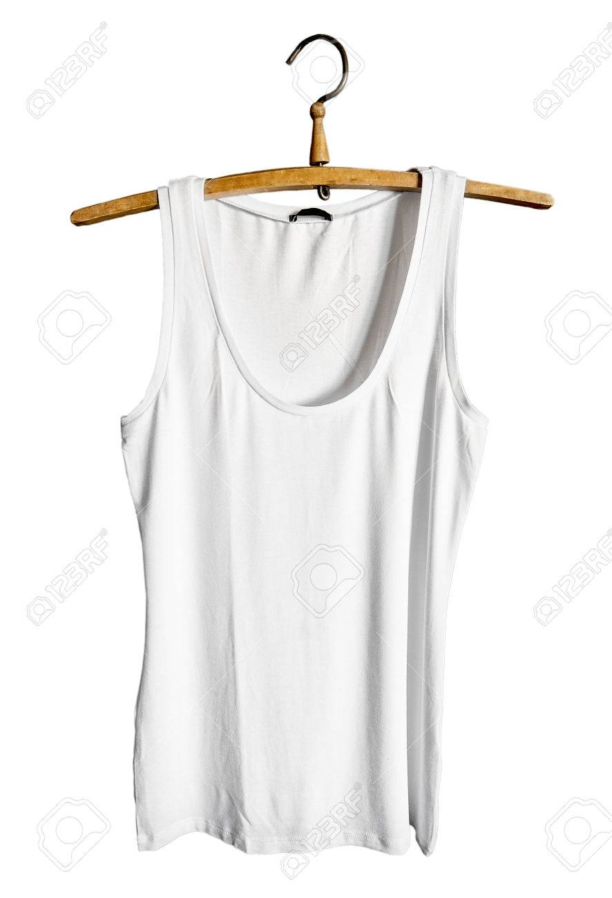 White Tank Top Isolated On White Background Mock Up Design Template