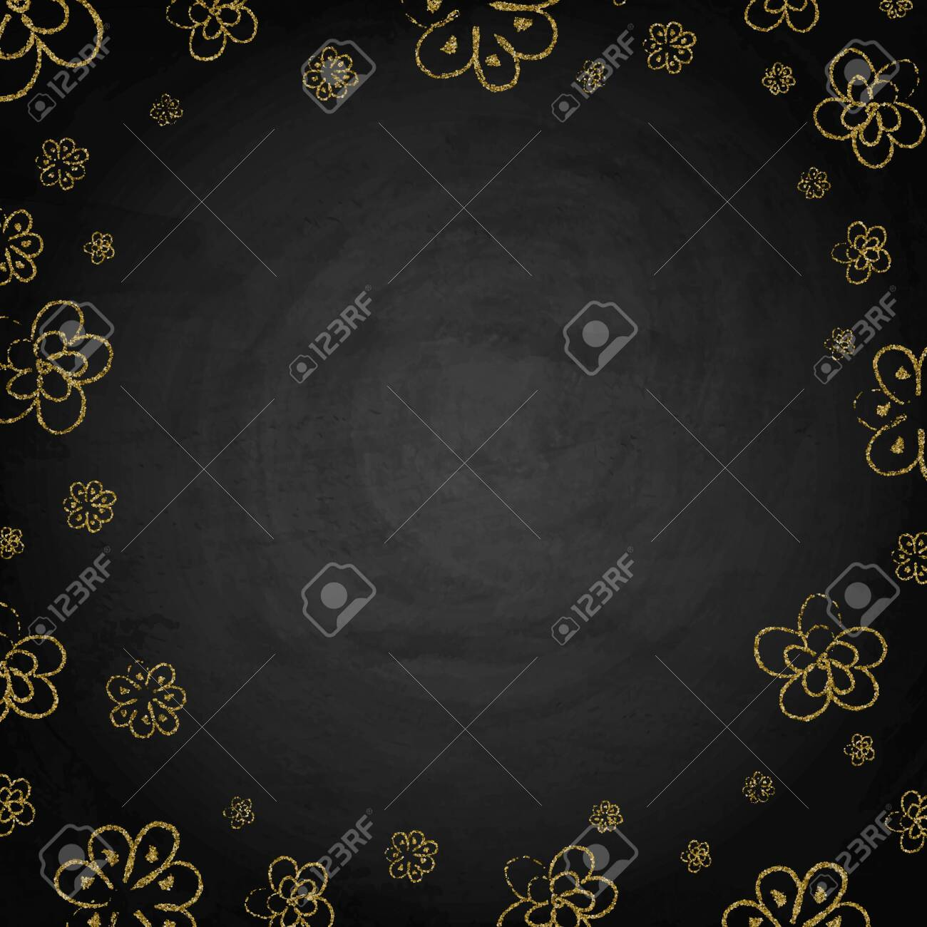 Handdrawn golden flowers on blackboard chalkboard background. Vector illustration - 124306039