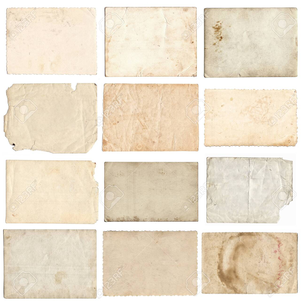 Set of various retro old photos isolated on white background - 122762415