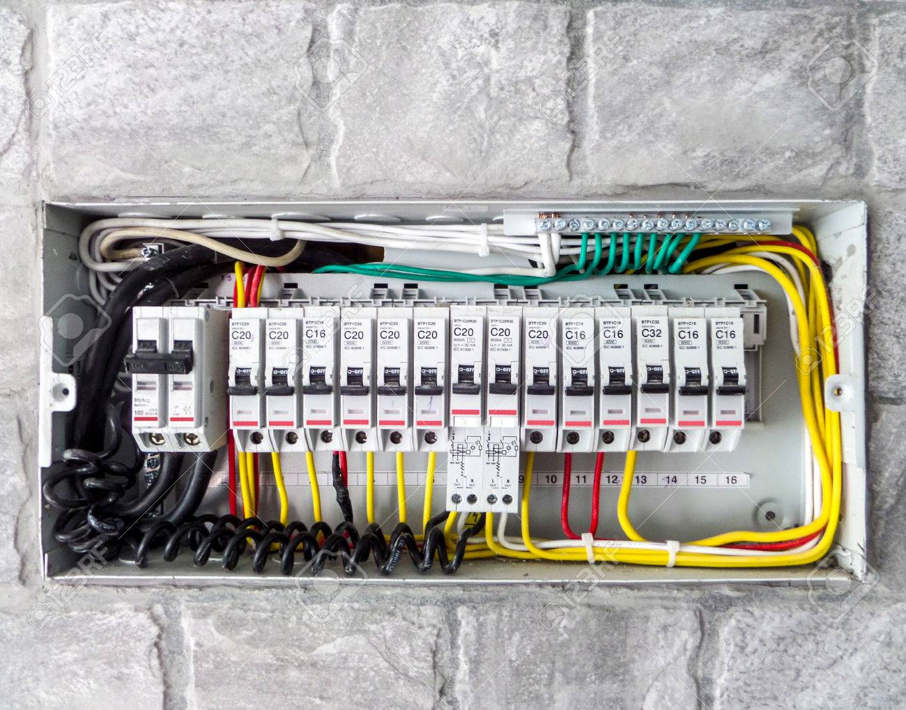 electric main box in the house set up to control and service stock rh 123rf com Electric Breaker Box Wiring Diagram electrical supply device wiring rating main box is required