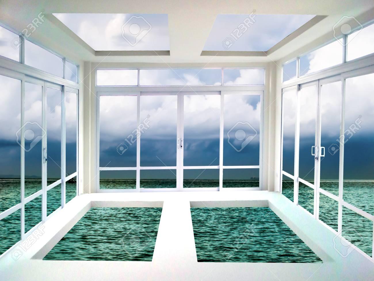 Glastur Und Fenster Wohnzimmer Meer Und Wolke Blick Lizenzfreie