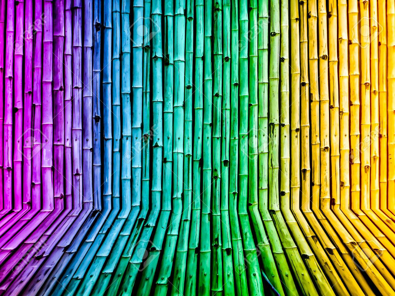 Bamboo Fence Vintage Gradient Background Wallpaper From Nature Stock Photo