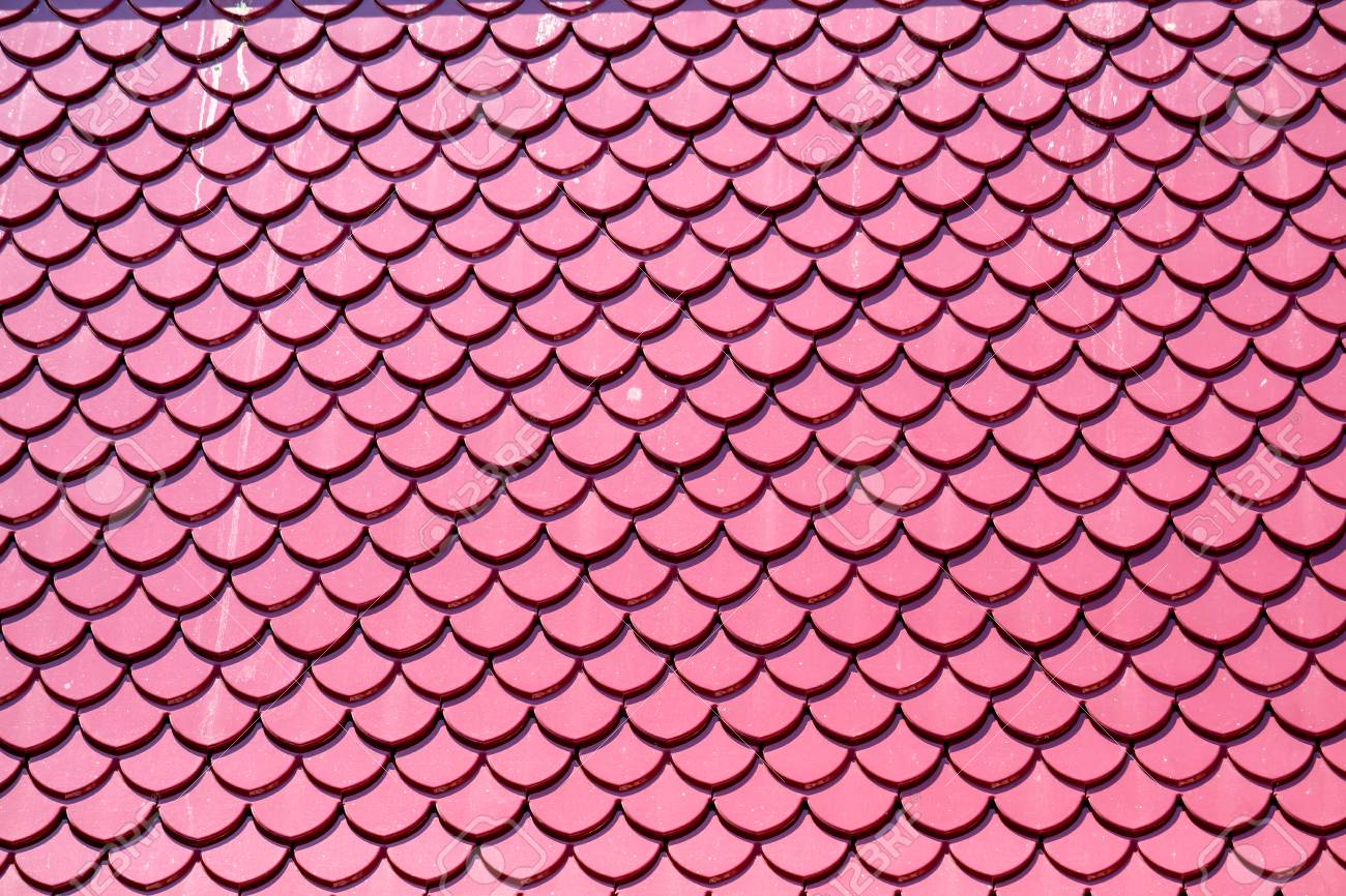 Roof Tiles Pink Color Design Same Fish Scales Background Stock Photo Picture And Royalty Free Image Image 119247031