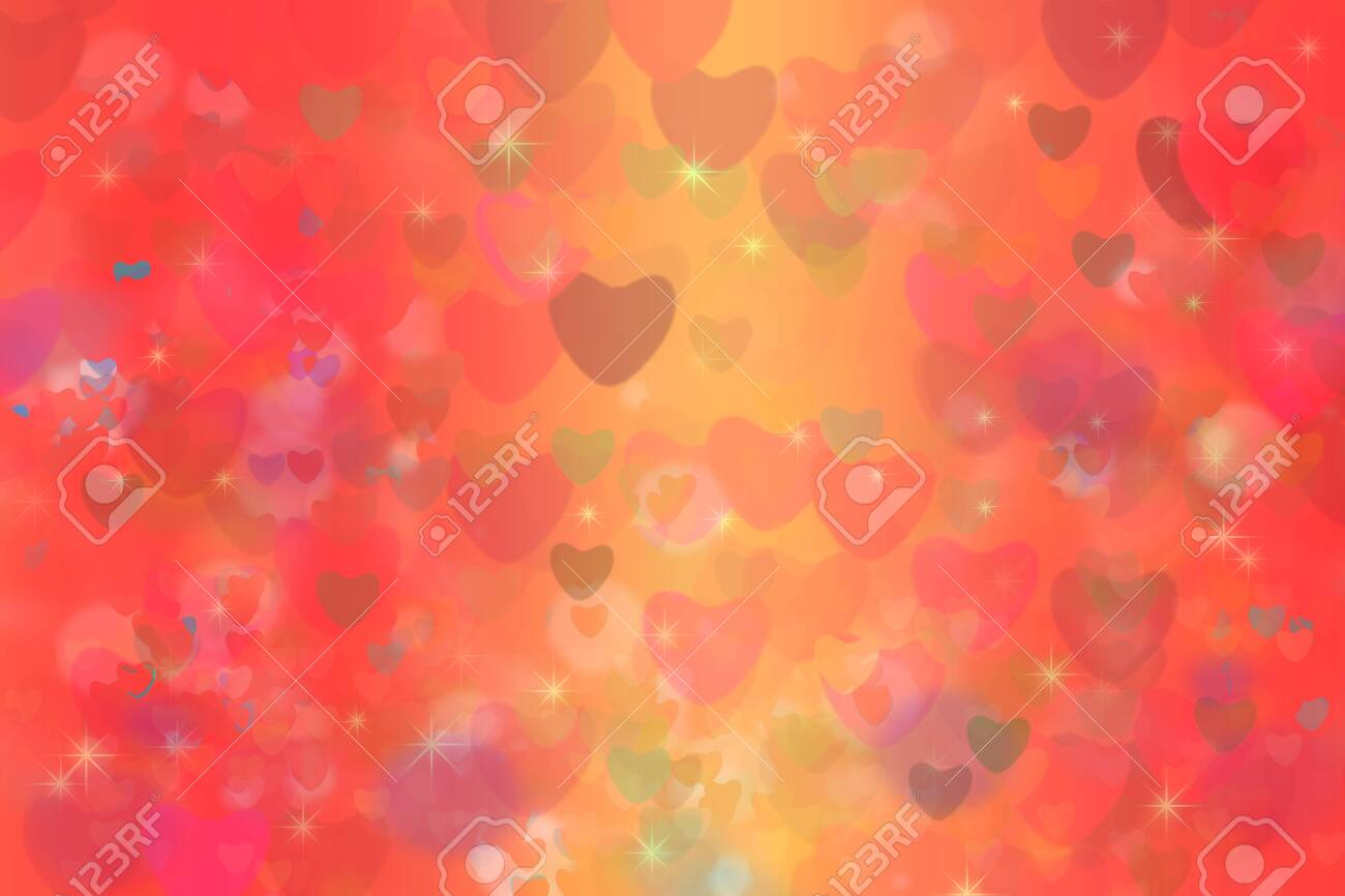 colorful heart star rainbow bubble and red heart abstract background - 136327484