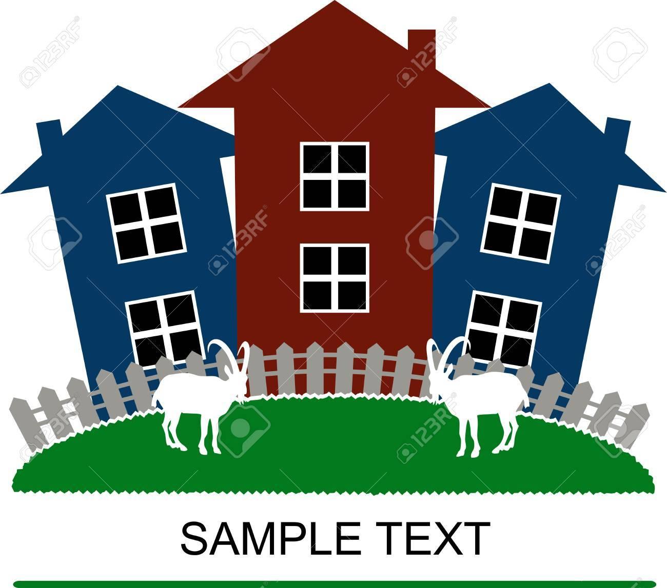 Häuser Und Ziegen Postkarte Design Einfache Darstellung Standard Bild    15193935