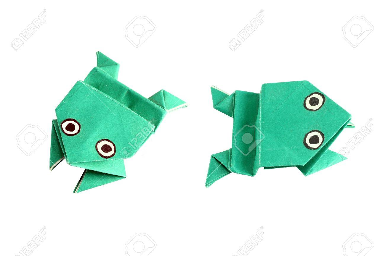 Origami frog in two different positions, isolated on white - 19481063