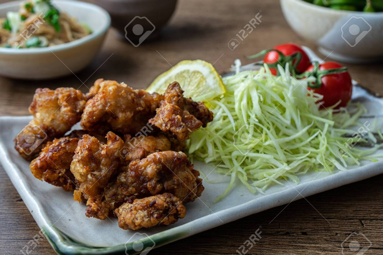 Karaage fried chicken, a popular fast food in Japan consisting of battered and deep fried chicken thighs. - 149445809